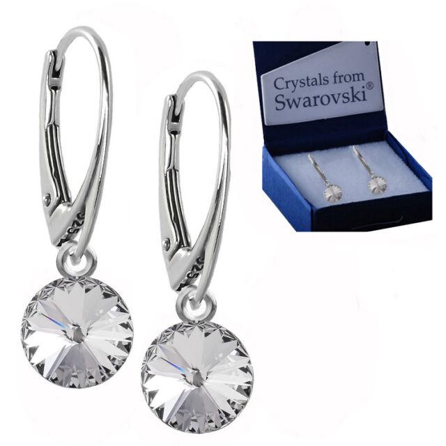 a5d442e99 925 Sterling Silver Dangle Earrings Rivoli 8 mm Clear Crystals from  Swarovski®