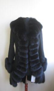 Wool Virgin With Black Superfine 8 Sz Women's Fur 100 Fox Ladies Coat New CU0WRSq