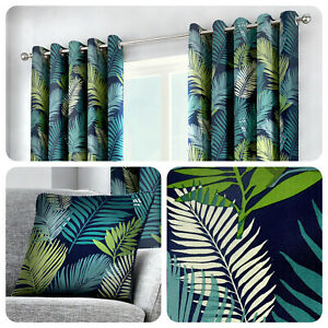 Fusion-TROPICAL-Leaves-100-Cotton-Ready-Made-Eyelet-Curtains-amp-Cushions