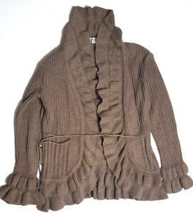 JON-amp-ANNA-Women-039-s-SMALL-Brown-Ruffled-Collar-Cardigan-Sweater-Tie-Waist-Top-e1