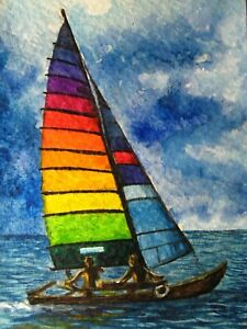 Watercolor Painting Rainbow Sail Sailboat Boat Aceo Art Auction Ebay