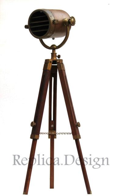 Vintage HOLLYWOOD REVOLVING FLOOR LAMP MARINE RUSTIC SEARCHLIGHT HOME DECORATIVE