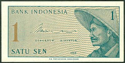 1964 Lot 10 PCS UNC P-90 Indonesia 1 Sen