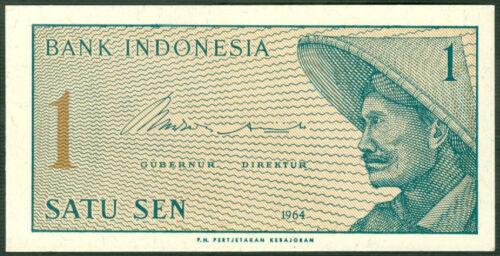 INDONESIA P  90   LOT  5  PCS  REPLACEMENT 1 SEN  1964   UNC