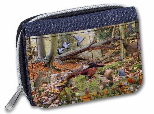 AB-50JW Woodland Forest Wildlife Animals Girls//Ladies Denim Purse Wallet Christ