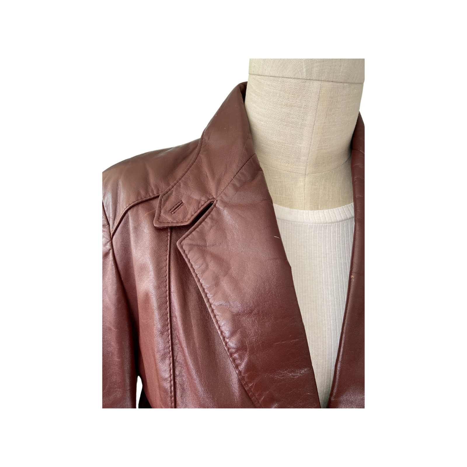 1970s Etienne Aigner Brown Fitted Blazer leather … - image 6