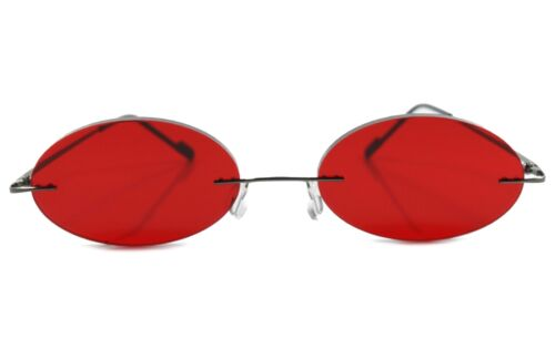 Cartoon Anime Rimless Gothic Costume Party Cosplay Red Oval Lens Sun Glasses
