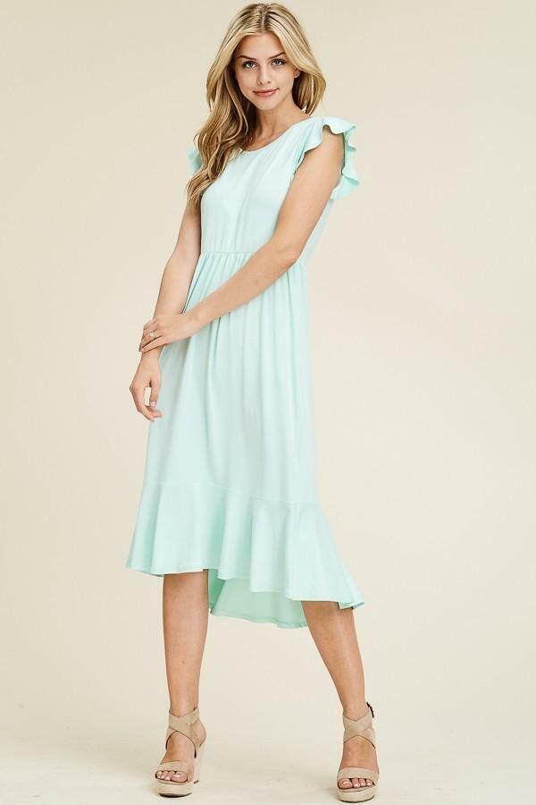 Solid Ruffled Cap Sleeve Dress With Hi Low Mermaid Hem