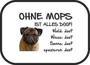 """Auto-sonnenschutz """"ohne Mops Ist Alles Doof!"""" 2er Set Hund Sichtschutz Sa0011 Autositze & Trenngitter"""
