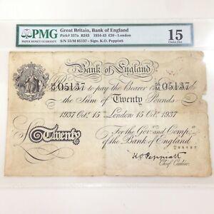 1937 PMG Choice Fine 15 £20 Great Britain Bank of England 337aB243 K.O. Peppiatt