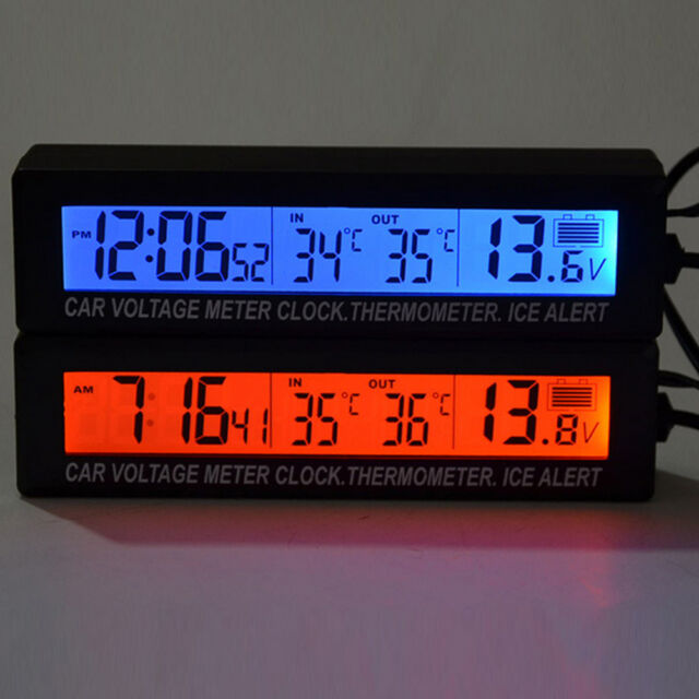 Car Auto LED Digital Clock Thermometer Indoor Outdoor Temperature Voltage  Meter