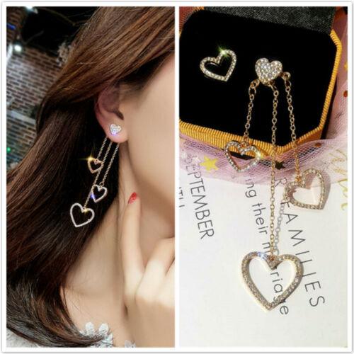 Women Asymmetric Love Heart Long Tassel Crystal Drop Stud Earrings Jewelry ONE