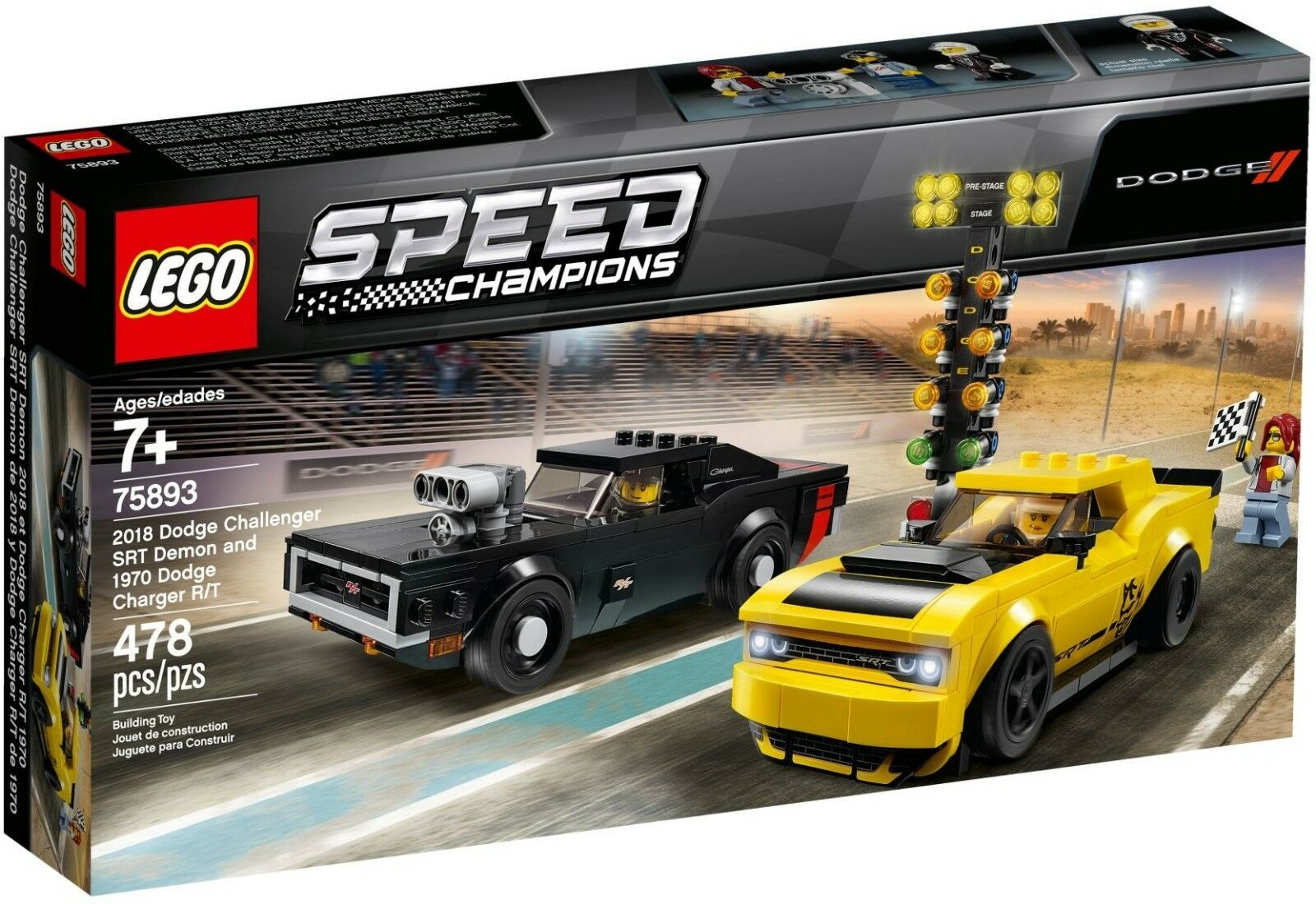 LEGO 75893 Speed Champions 2018 Dodge Challenger SRT Demon 1970 Dodge Charge R T