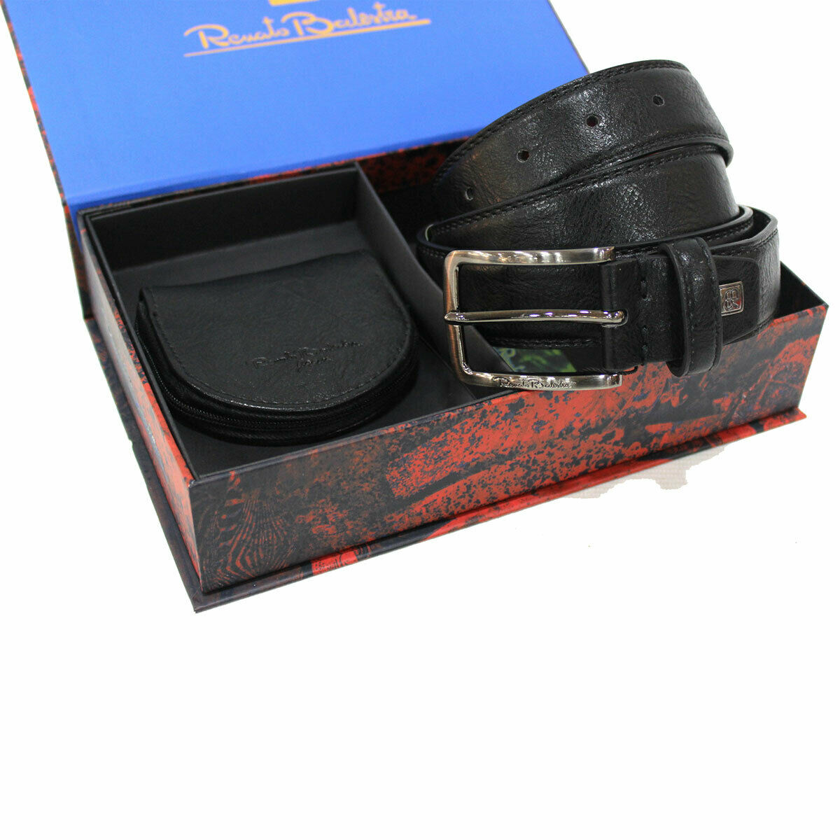 Belt mens Set One Size Height mm 35 Coin Leather Black in Box