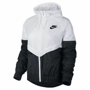 nike windrunner asian size women 39 s jacket windbreaker white black 726139 101 ebay. Black Bedroom Furniture Sets. Home Design Ideas