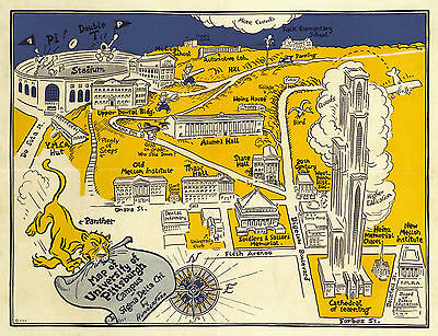 Historical University of Pittsburgh Campus Map Wall Art Poster Print Vintage