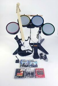 PS3-Rock-Band-Wireless-Bundle-Dongles-Drums-Guitar-Full-Band-in-Box-Beatles-ACDC