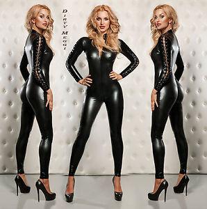 Catsuit-Overall-fetisch-Domina-schwarz-S-M-36-38-Lack-Latex-Leder-Optik-Wet-Look