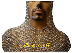 Chain Mail Coif with Silver Anodized Hood Aluminium by allbeststuff Adult Unisex