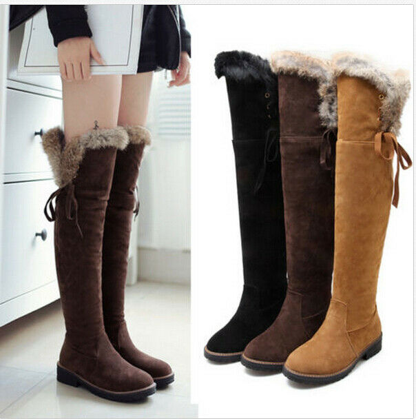 Ladies Faux Fur Trim Winter Snow Boots Flat Heels Over Knee Thigh High shoes new