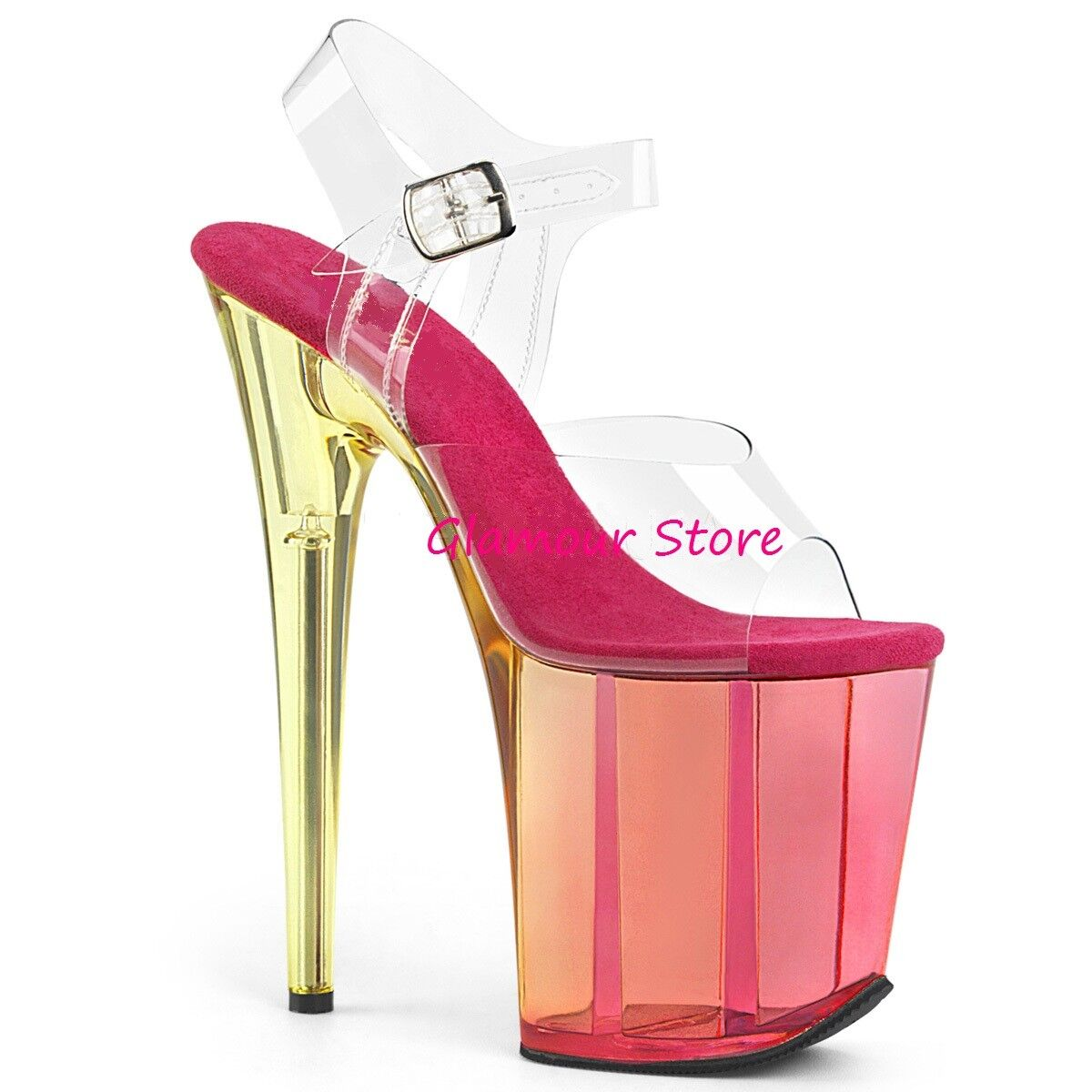 Sexy SANDALI tacco 20 rosado TRASPARENTE dal 35 al al al 40 plateau zapatos glamour CLUB  hasta un 50% de descuento