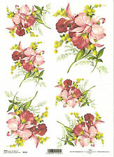 Rice Paper for Decoupage Scrapbooking Primrose Yellow Pink Flowers A4 ITD R960