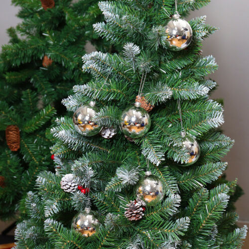 6//12//36PCS Glass Metallics Christmas Tree Ball Bauble Rope Hanging Xmas Mirrored