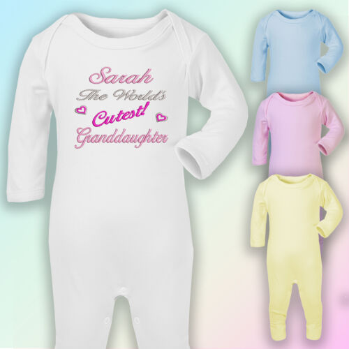 Cutest Granddaughter Embroidered Baby Romper Babygrow Gift Personalised Nanny