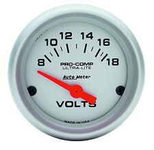 "Auto Meter 4391 Ultra-Lite Electric Voltmeter Gauge 2 1/16"" (52mm) 8 - 18 Volts"