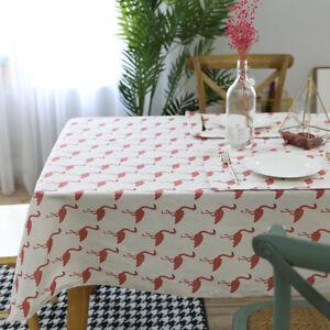 FJ-AM-LK-NE-Flamingo-Tablecloth-Cotton-Linen-Dining-Table-Desk-Home-Furnitur