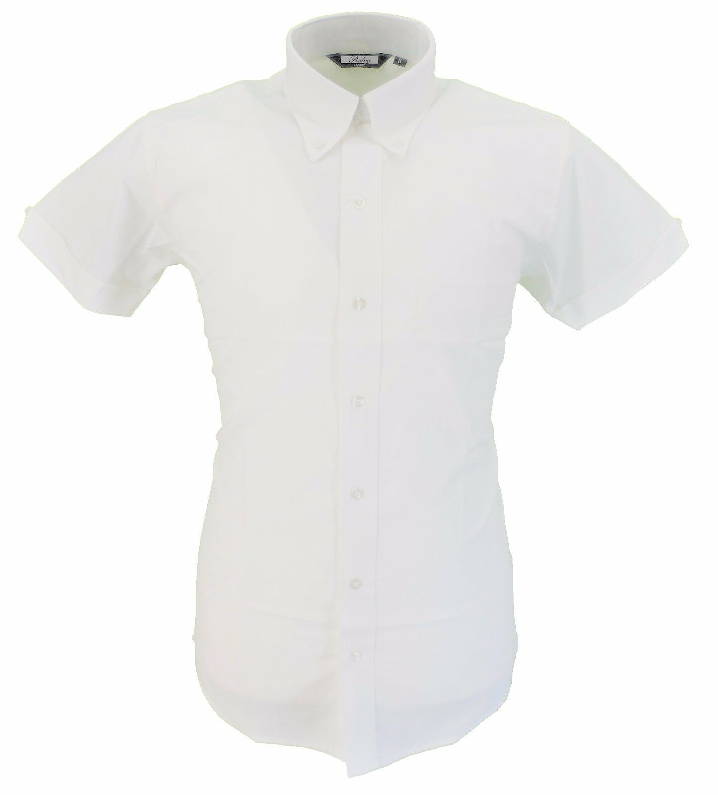 Relco Weiß Oxford Cotton Short Sleeved Retro Mod Button Down Shirts    | Rabatt