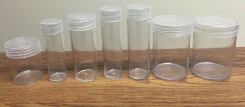10 Harris LARGE DOLLAR Round Clear Plastic Storage Coin Holder Tubes Lot H.E