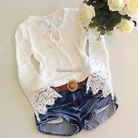 UK Womens Lace Sleeve Chiffon Lace Blouse Long Embroidery T Shirt Tops Size 6-14