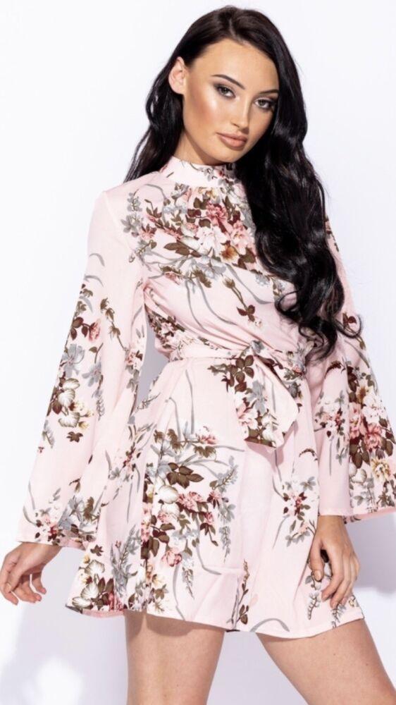 ** Femme Rose New Look Imprimé Floral Col Haut Parisien Mini Robe ** Uk 8