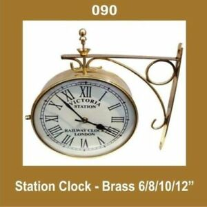 New-Outdoor-Nautical-Station-Wall-Clock-6-039-039-Brass-Made