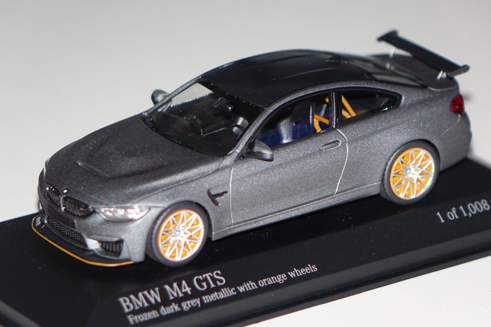 BMW m4 GTS 2016 Grigio Opaco Arancione Ruote 1 43 Minichamps 410025220 NUOVO & OVP