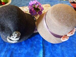 neuf-joli-chapeau-cloche-gris-fonce-garnitures-ruban