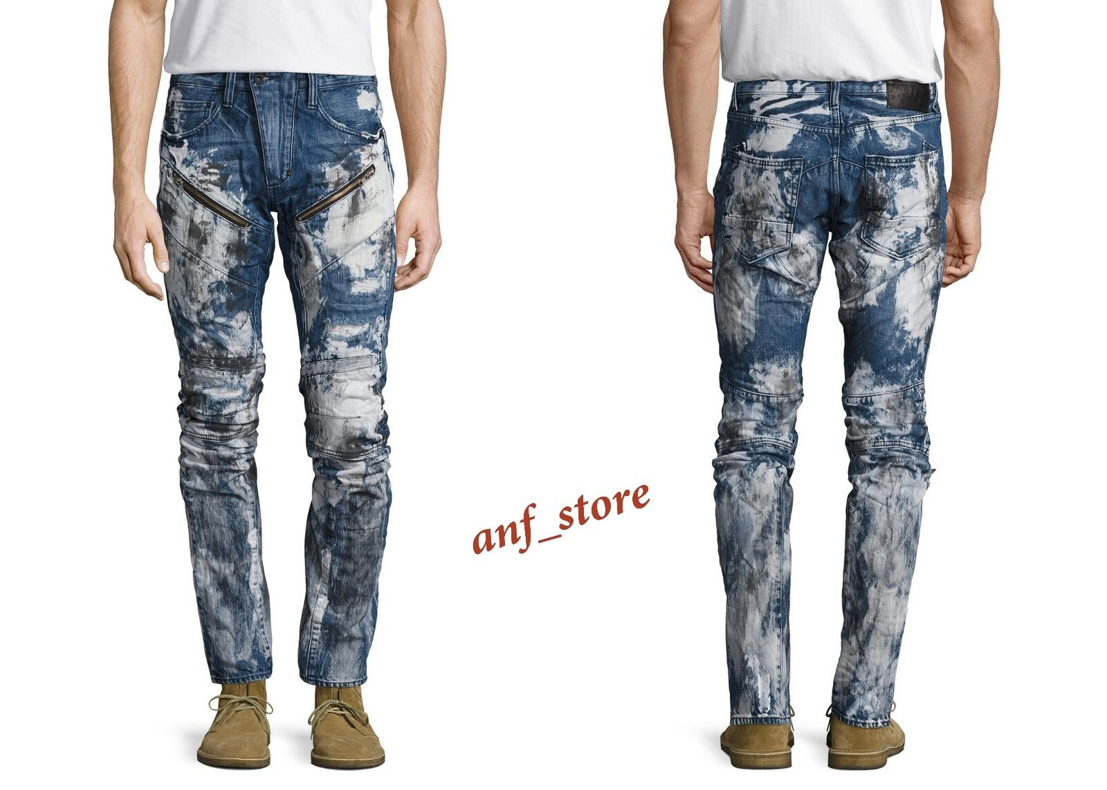 NWT PRPS Goods JAPAN BARRACUDA Men Jeans 36 x 32 Faded DISTRESSED Printed