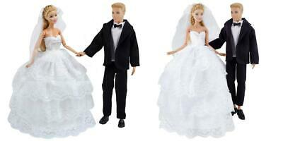 E-Ting Wedding Pack Beautiful Gown Bride Dress Clothes With Veil /& Groom Formal