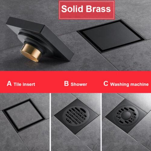 Black Brass Shower Drainer Bathroom Floor Waste Drain Deodorant Washing Drains