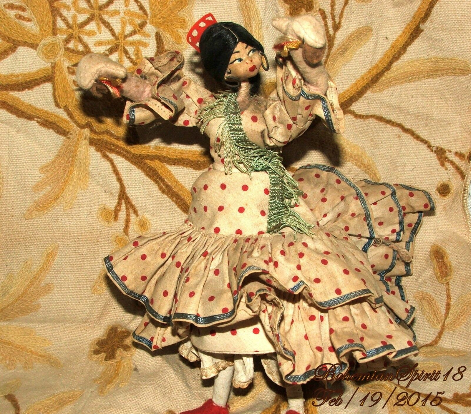 VINTAGE KLUMPY TYPE  FLAMENCO SPANISH DANCER  FIGURINE CLOTH COLLECTIBLE bambola  fino al 70% di sconto