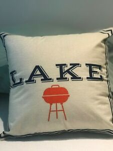 Details About Lake House 18x18 Throw Pillow Cover Cottage Decoration Indoor Outdoor