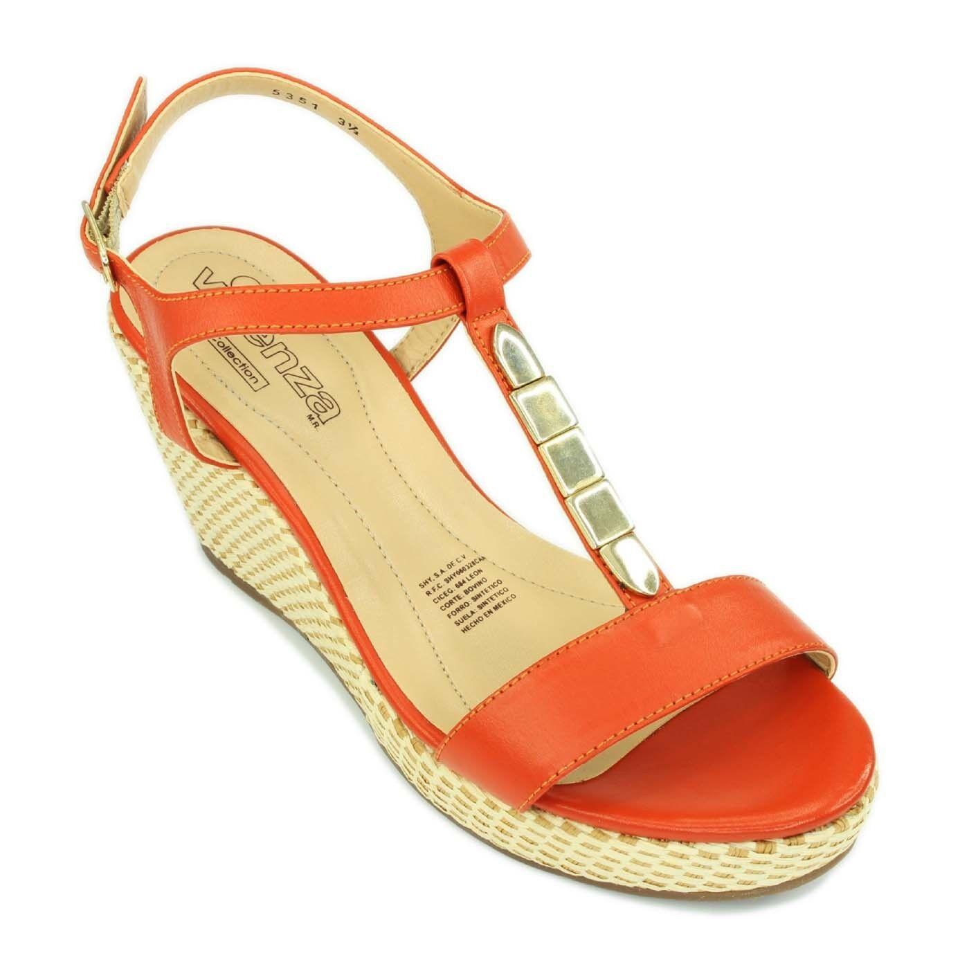 Fashion Woman Orange Wedges Leather T-bar Stylish Sandals Woven Wedges Orange Heels Shoes 1255c0