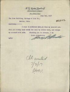 1917 Ann Arbor Michigan (MI) Letter H. G. Martin Lumber Company From: Harry G. M