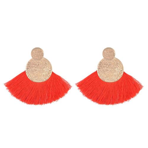 Bohemian Alloy Rope Straw Tassel Drop Dangle Long Fringe Earrings Women Jewelry