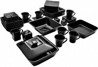 Square Dinnerware Set Plates Dining Dishes Black Banquet 45 Piece Cups Dishes