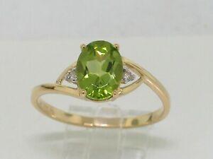 Peridot Ring 585 Gelbgold 14Kt Gold natürlicher Peridot   2 Brillanten