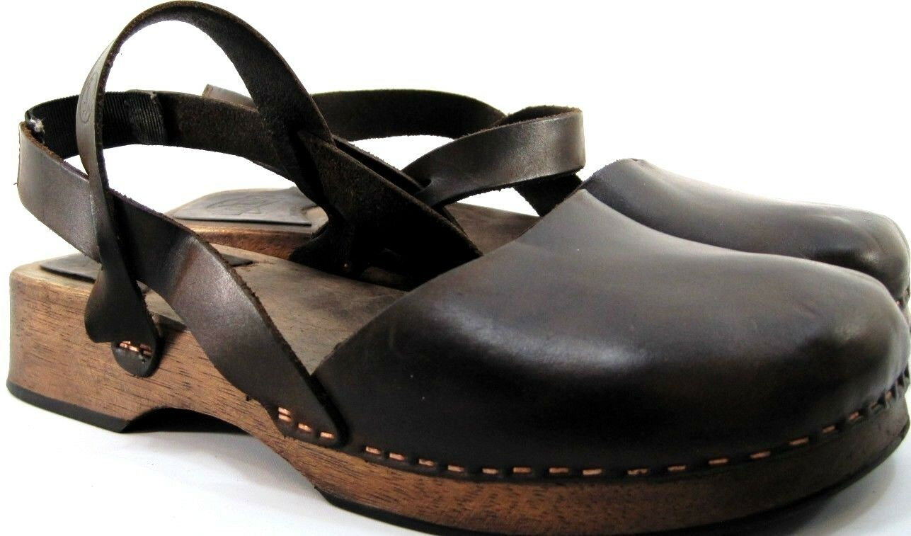 Walk Women Leather Sandals Size 6.5 Euro 37 Brown Wood Rubber Soles