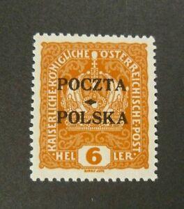 POLONIA-POLAND-1919-034-Austrian-OVP-Poczta-Polska-034-6H-arancio-MH-signed-on-back
