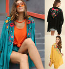 S M L UMGEE Floral Embroidered Open Front Long Flowy Kimono Cardigan Top Boho
